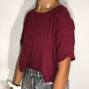 Charlotte Russe maroon relaxed tee